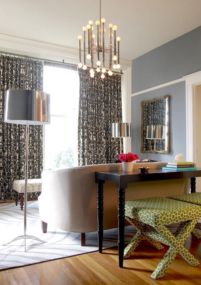 statement chandelier with nickel finish floor lamps with metallic finish medium toned wood floors