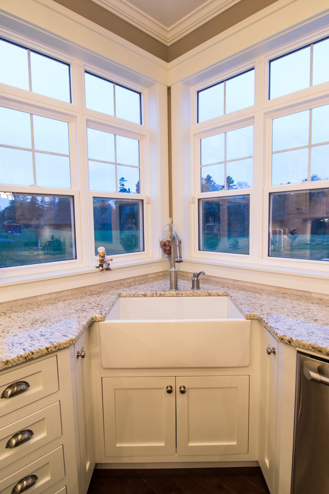 traditional kitchen idea farmhouse corner sink in white white painted cabinets white granite countertop stainless steel faucet