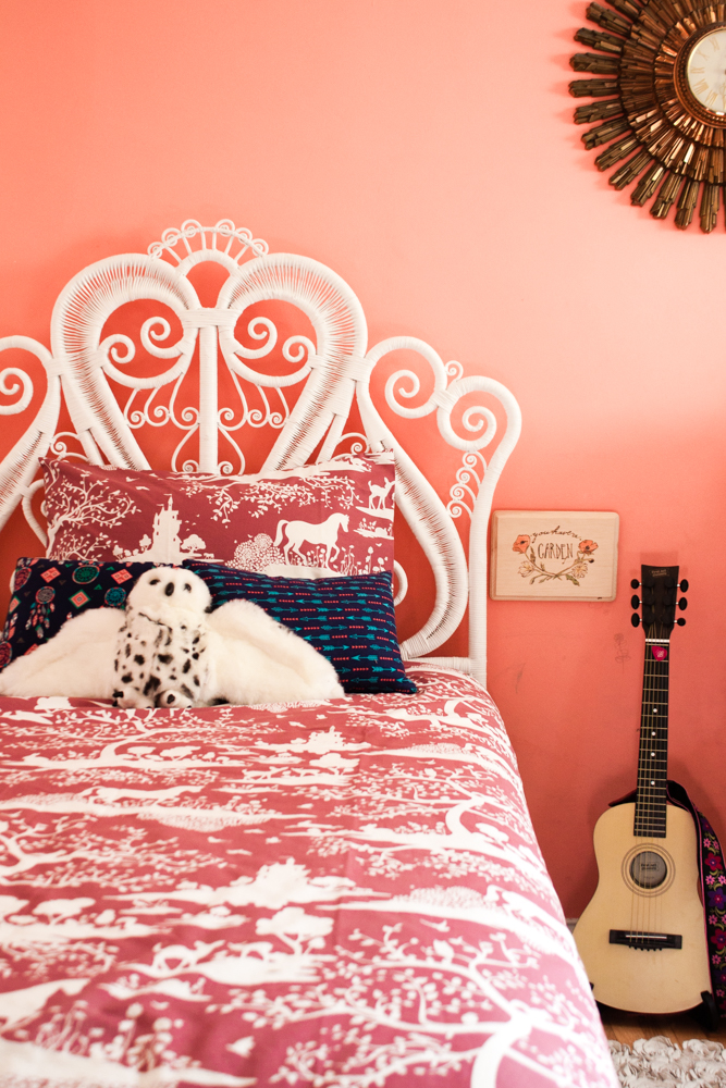 twin bed frame with wicker made headboard
