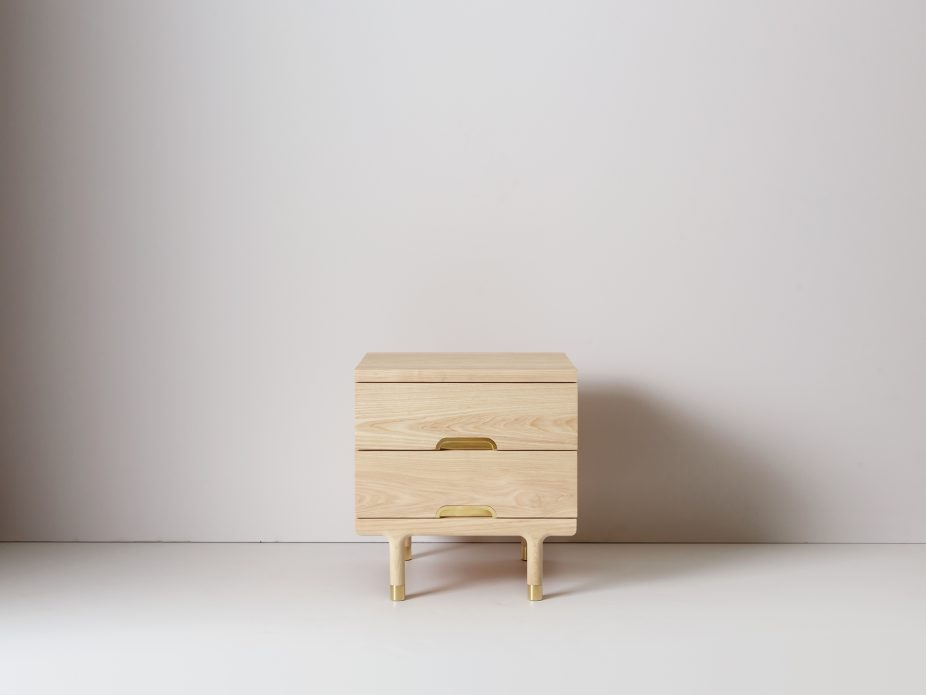 vintage style wood side table with gold toned legs