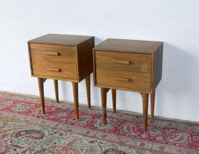 vintage style wooden side tables with obvious handlers and pointed legs