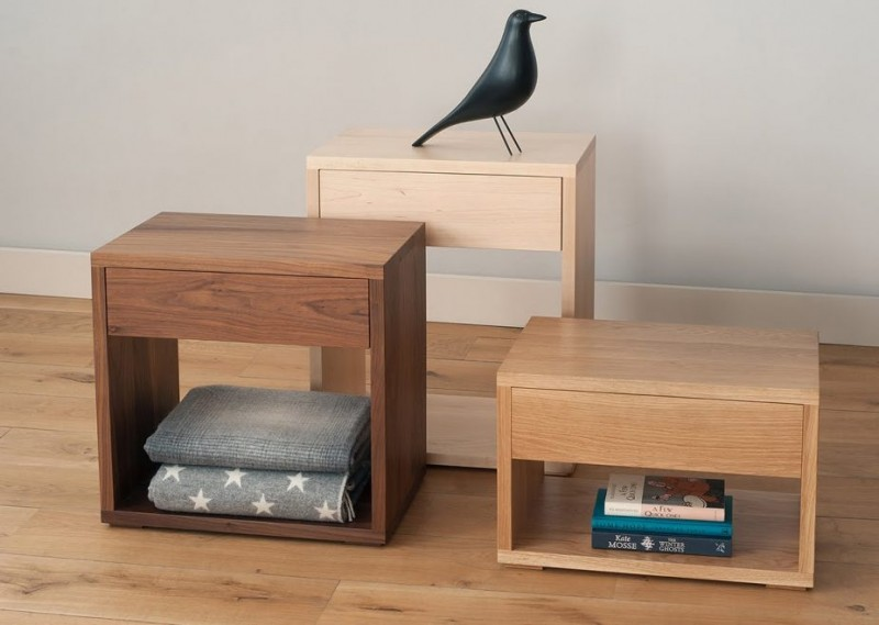 wooden side tables with under shelving unit