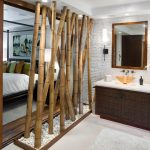 Asian inspired bathroom with natural bamboos partition
