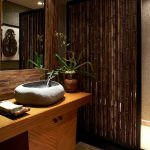 Asian style bathroom design bamboo partition concrete floors hardwood bathroom vanity with stone like sink