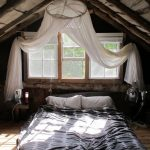 Bohemian Bedroom Idea Lower Mattress Higher Canopy With White Canopy Centered Window Wood Planks Flooring Idea Arched Ceiling