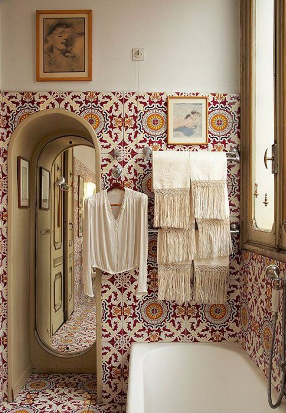 Bohemian designed bathroom with Moroccan floor and wall tiles