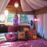 Bohemian Style Bedroom Idea Patterned Bedding In Dominant Pink Colorful Throw Pillows Semi Transparent Bed Curtains Moroccan Lanterns