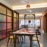 Asian Adopted Dining Room Colorful Shoji Walls With Wood Trims Smaller Screen Partition With See Through Panel