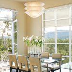 Contemporary Dining Room Simple Floatation Suspension Light Fixture Glass Vase Centerpiece With Vivid Flowers Contemporary Dining Furniture Set