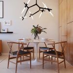 Contemporary Dining Space Trendy & Creative Chandelier White Marble Dining Room With Round Top Wood Dining Chairs With Black Leather Seats