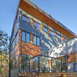 Contemporary Exterior Idea Cedar Plank Siding Exterior Walls Mirrorred Glass Windows With Black Frames Glass Decking Railings Wood Decking Floors