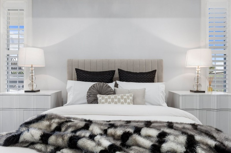 contemporary master bedroom design white bed linen white black fur comforter bed frame with grey headboard white dressers