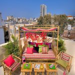 Eclectic Porch Design Bamboo Daybed With Canopy And Mattress Bamboo Chairs With Pink Throw Pillows Bamboo Tea Tables