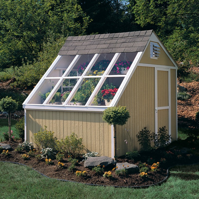 greenhouse shed idea with transparent roof vertical wood siding exterior walls