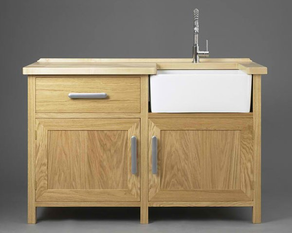 handmade wooden freestanding kitchen sink cabinet with farmhouse sink and stainless steel faucet