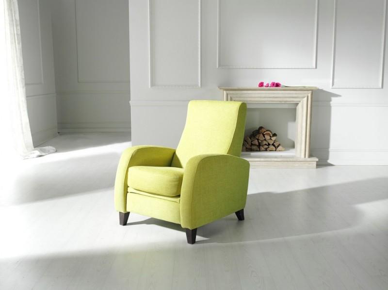 lemon green recliner chair with dark wood legs