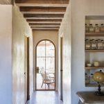 Mix Modern And Farmhouse Hallway Idea Curved Top Window Exposed Ceiling Beams Tiles Floors