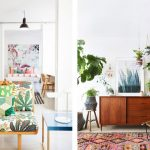 Modern Bohemian Interior Suzani Carpet Dark Wood Credenza Some Plants Woven Chair With Black Wrought Tiny Legs Blue Top Side Table Floral Motif Sofa With Wood Legs