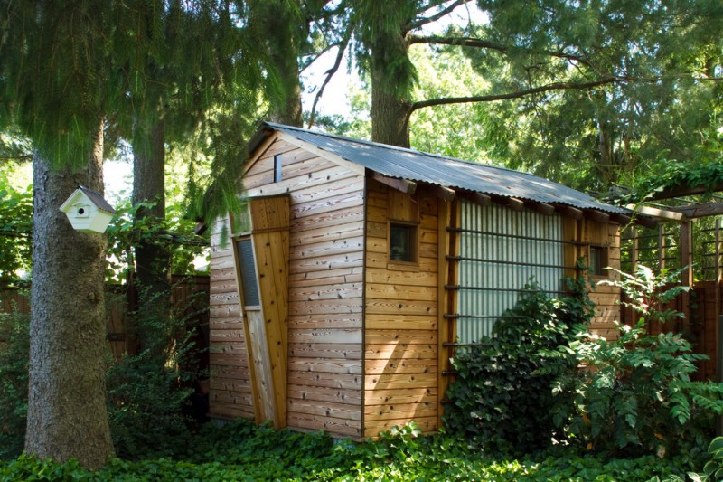 modern farmhouse storage shed with tiny bay window cedar planks wall cheap lightweight metal roof