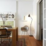 Modern Home Office Idea With Tiny Reading Nook Wooden Office Desk Vintage Area Rug Medium Wood Plank Floors Mid Century Modern Chair Modern Floor Lamp