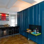 modern kitchen bar idea black finish bar table black barstools folded kitchen table that mounted on blue wall wood reclaimed floors