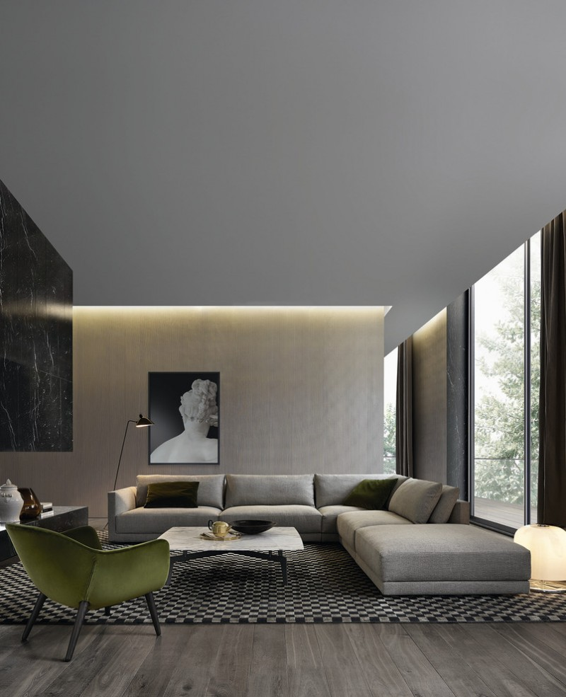 modern living room in grey with light brown light effect modern L shaped sofa in grey monochromatic area rug green lemon chair grey wood floors