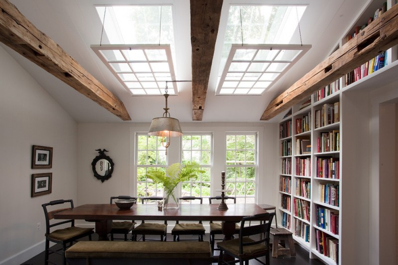 modern rustic dining room higher ceilings with drop off custom panels skylights and wood beams