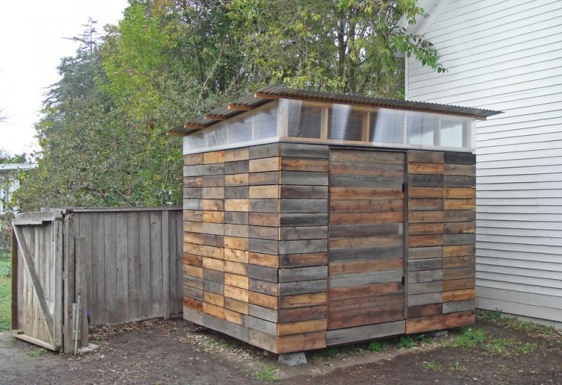 modern rustic garden shed with celestory windows and swinging door
