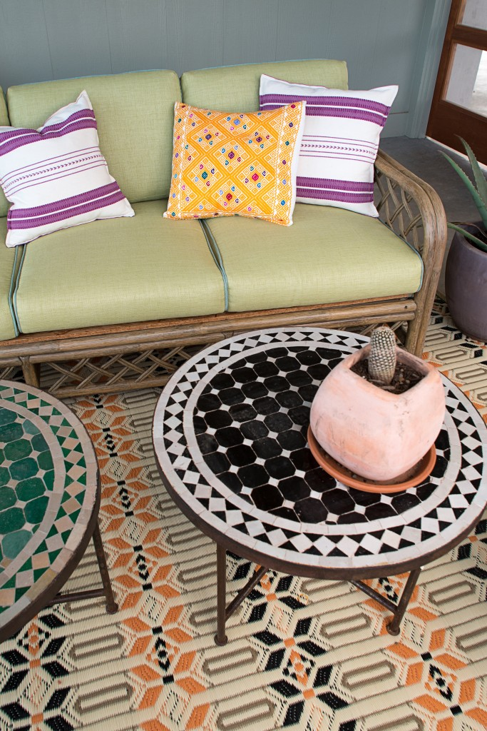 monochromatic mosaic tiled top Moroccan coffee table