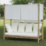 Outdoor Bamboo Daybed With Standard Canopy And Vertical White Shades Larger Throw Pillows And White Mattress