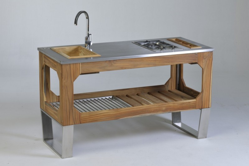 outdoor freestanding kitchen sink with open shelf undermount wooden sink stainless steel faucet recessed stove