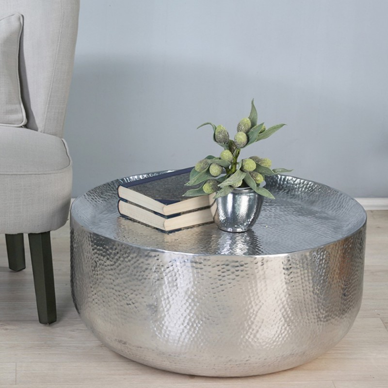 pressed and semi curved top silver Moroccan coffee table with smooth texture
