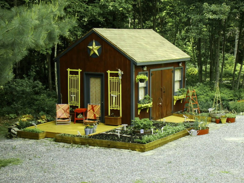 rustic garden shed idea with bright yellow accents salvaged furniture and mini garden