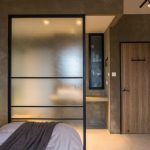 Semi Rustic Bedroom Design Frosted Room Partition With Blackened Steel Frames