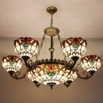 Stained Glass Chandelier Consisting Of Grand & Centered Light Fixture And Smaller Light Fixtures