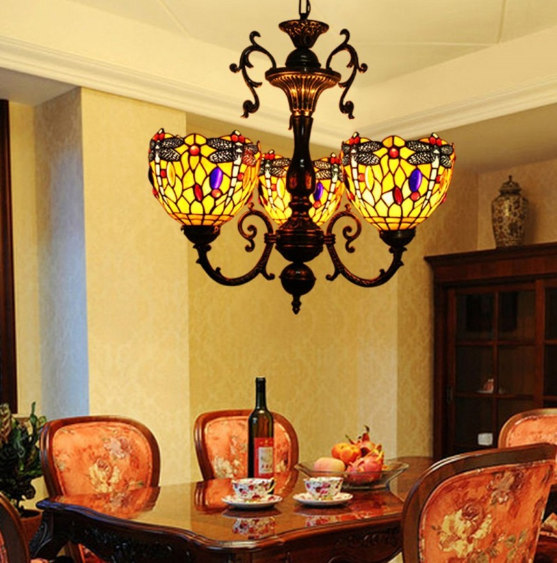 stained glass chandelier with black wrought iron support