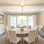 Traditional Classic Dining Room White Round Dining Table White Dining Chairs Soft Lighted Hang Lamp In Traditional Style