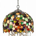 Vintage Pendant With Stained & Colorful Glass Lampshade And Clear Crystals