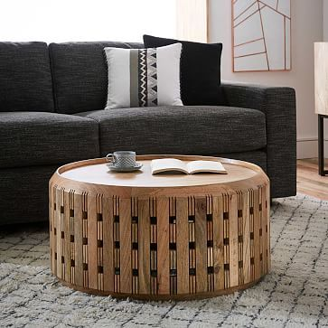 wood Moroccan coffee table with Moroccan carving details