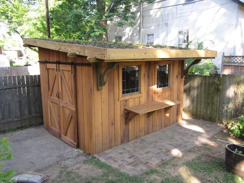 wood garden shed idea with green rooftop reclaimed windows barn door hardware