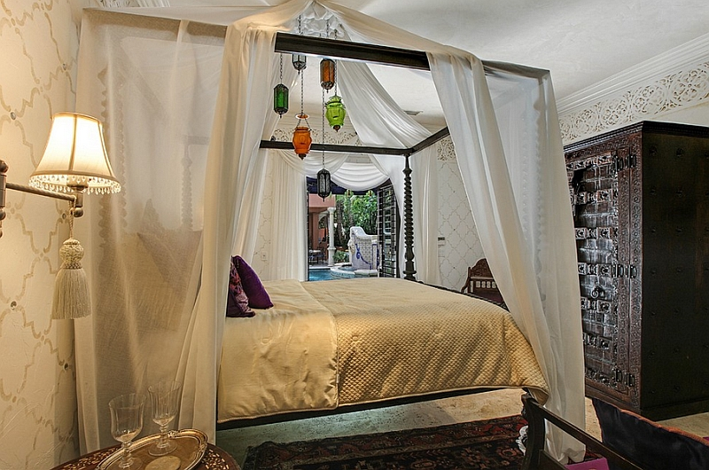 Moroccan bedroom idea bed canopy addition colorful accent lighting fixtures Moroccan style closet Moroccan rug