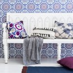 Moroccan Style Wood Bench With Back Rest In White Colorful Throw Pillows White Moroccan Side Table Moroccan Rug In Small Size