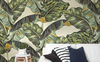 banana leaf wallpaper idea modern white sofa wood side table fabric area rug light wood floors