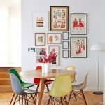 Breakfast Nook Idea Mid Century Modern Dining Chairs With Rainbow Finishing Round Top Wood Dining Table A Cluster Of Wall Arts