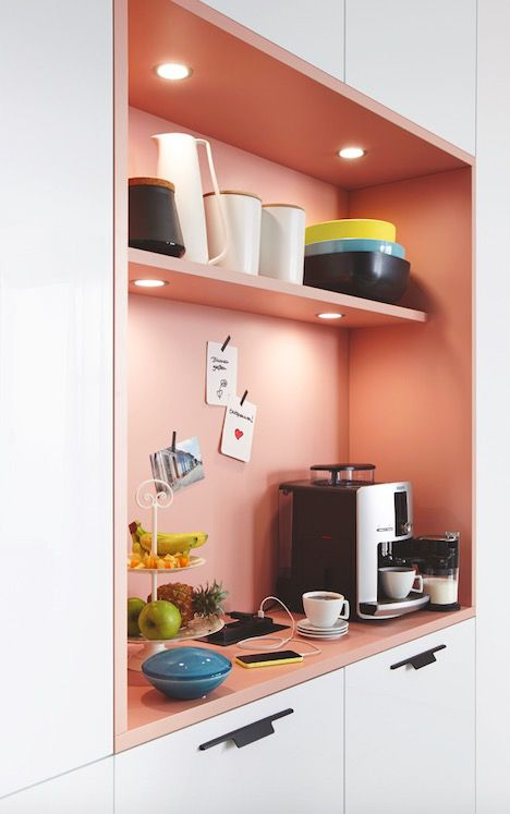 built in kitchen cabinets with pastel inner shelf