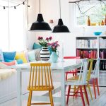 Colorful Wood Dining Chairs White Dining Table Industrial Pendants With Black Lampshade White Wood Planks Floors