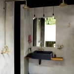Concrete Finishing Bathroom Clean Line Bathroom Vanity Frameless Mirror Industrial Pendants Gold Toned Shower Appliances Concrete Walls And Floors