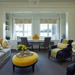 Formal Home Office Idea Built In Working Desk With Drawer System Dark Gray Working Desks Gray Sofa Dark Blue Armchairs Yellow Throw Pillows Yellow Center Table Yellow Window Shade