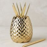 Gold Pineapple Pencil Holder With Obvious Texture