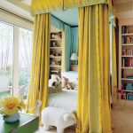 Grand Yelllow Bed Canopy White Bedding Treatment Green Table Light Neutral Carpeting Recessed Bookshelves